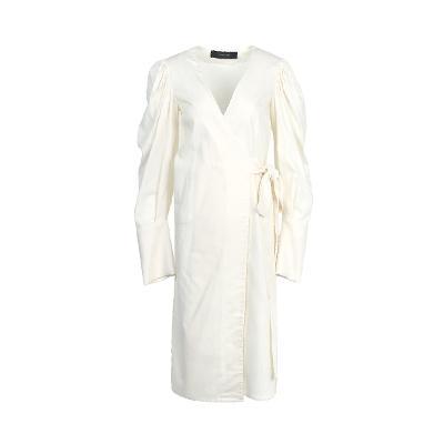 shirring detail cuffs wrap dress white